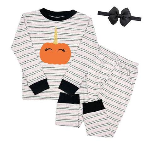 Pumpkin Unicorn Pajamas Stripe