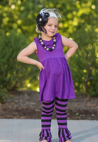 Purple Black Stripe Capri