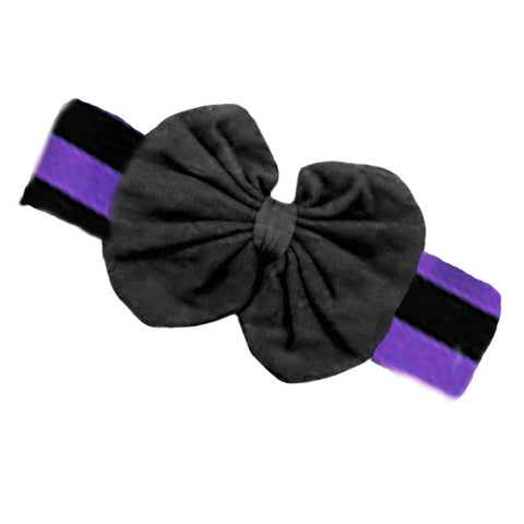 Purple Black Stripe Messy Bow Headband