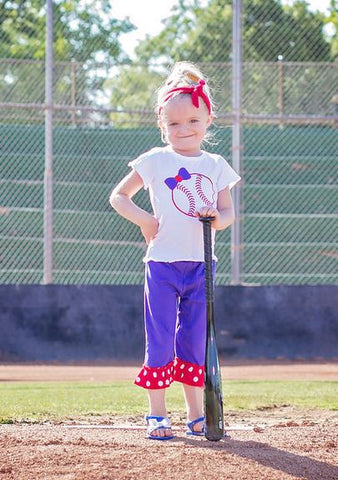 Purple Bow Baseball Capri Set