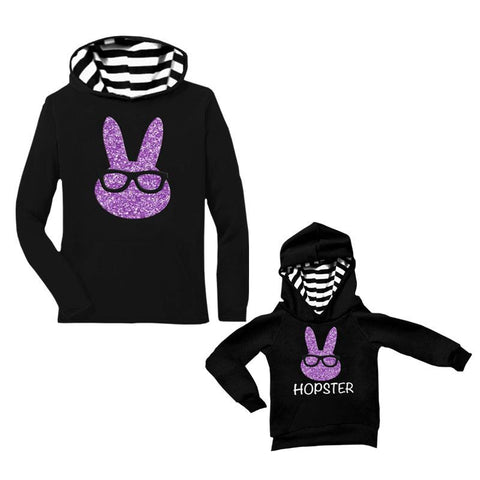 Purple Bunny Hoodie Glasses Black Stripe