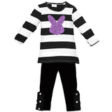 Purple Bunny Outfit Sparkle Black Stripe Top And Pants Mommy Me