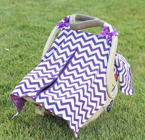 Purple Chevron Plum Minky Car Seat Canopy