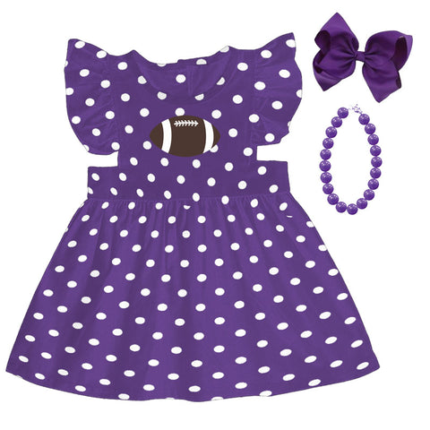 Purple Football Dress Polka Dot Bow