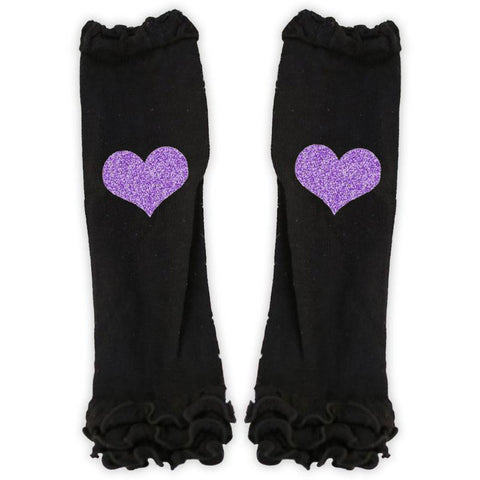 Purple Glitter Heart Leg Warmers Black Ruffle