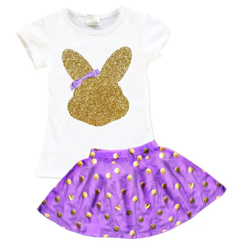 Purple Gold Bunny Outfit Sparkle Polka Dot Top And Skirt