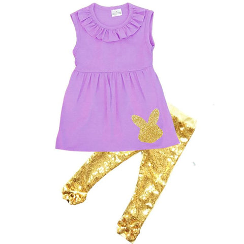 Purple Gold Bunny Sparkle Sequin Top And Pants