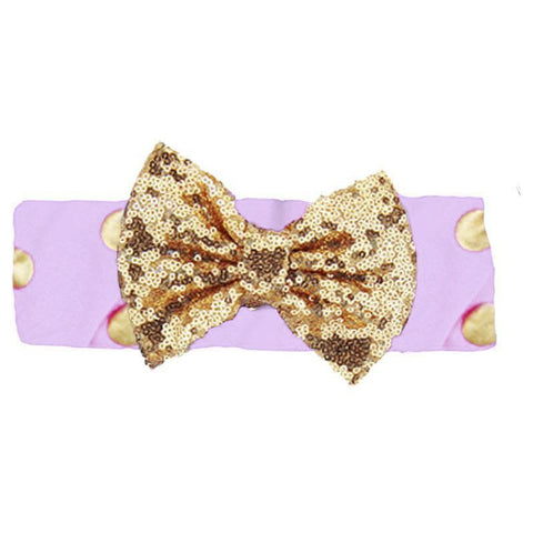 Purple Gold Headband Sequin Bow Polka Dot