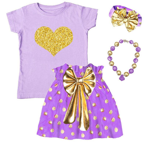 Purple Gold Heart Outfit Polka Dot Top And Skirt