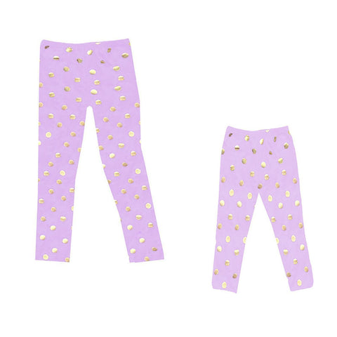 Purple Gold Leggings Polka Dot