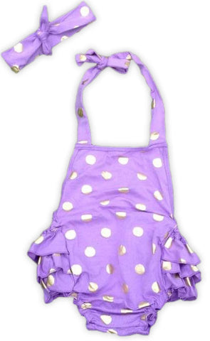 Purple Gold Polka Bubble Romper