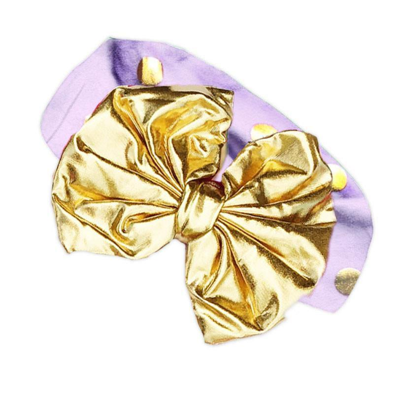 Purple Gold Polka Messy Bow Headband