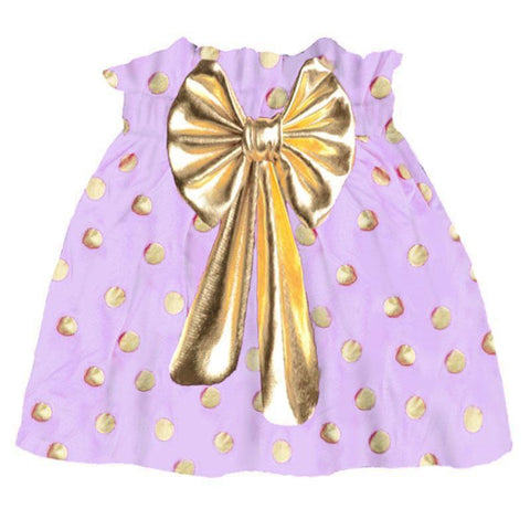 Purple Gold Skirt Polka Dot Bow