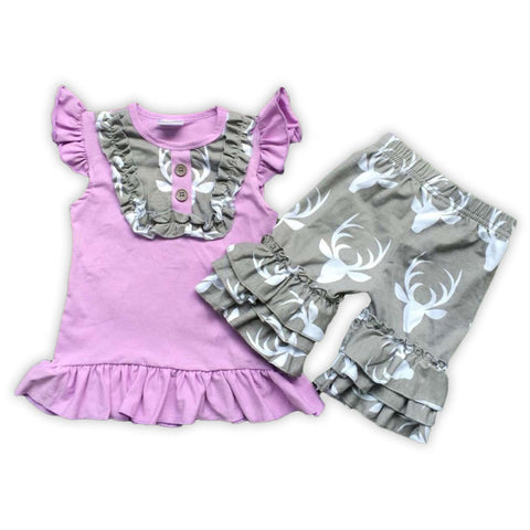 Purple Gray Deer Capri Set