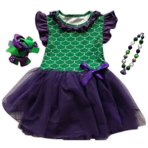 Purple Green Mermaid Tutu Dress