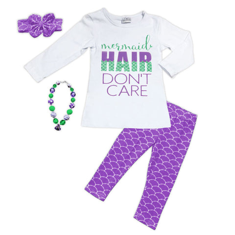 Purple Mermaid Hair Top Pant Set