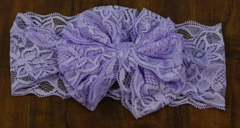 Purple Messy Bow Lace Headband