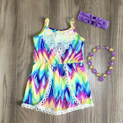 Purple Pastel Tie Dye Romper bow and necklace set