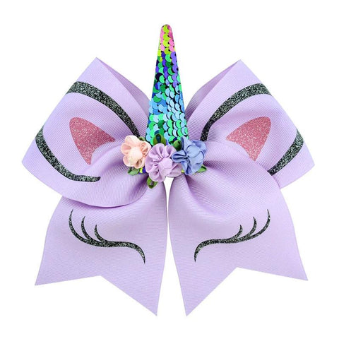 Purple Rainbow Sequin Hair Bow