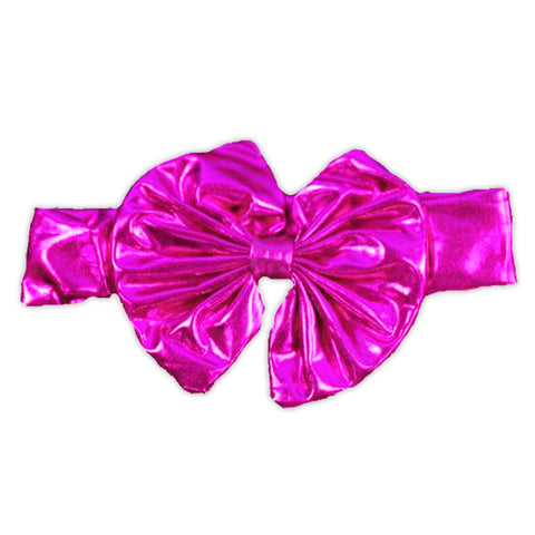 Hot Pink Satin Messy Bow Headband