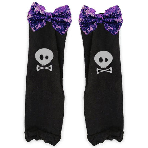Purple Sequin Bow Leg Warmers Black Witch Bones