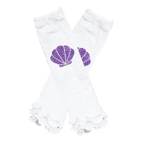 Purple Shell Leg Warmers Mermaid White Ruffle
