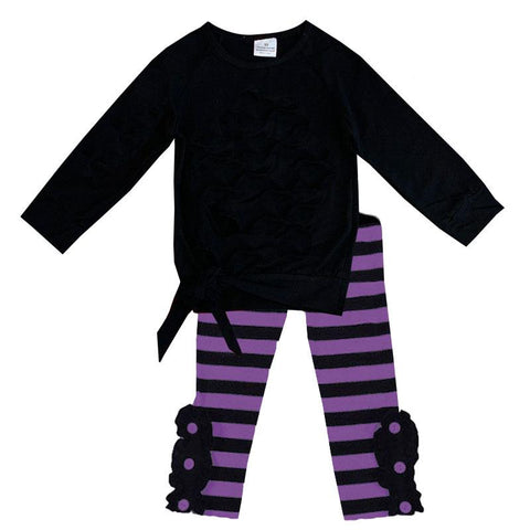 Purple Stripe Tie Top And Pants