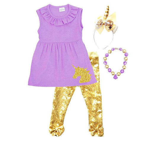 Purple Unicorn Sparkle Outfit Gold Sequin Bow Top And Pants