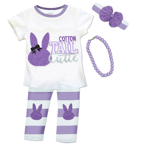 Purple White Stripe Bunny Top And Pants