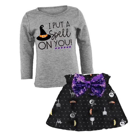 Put A Spell On You Outfit Witch Hat Purple Sequin Top And Skirt