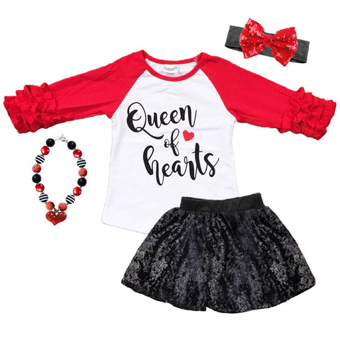 Queen Of Hearts Shirt Red Raglan