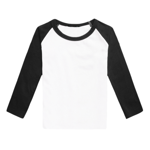 Raglan Shirt Long Sleeve Black White