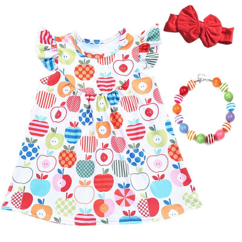 Rainbow Apple Dress Polka Stripe Ruffle