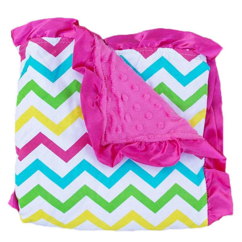 Rainbow Chevron Hot Pink Minky Blanket