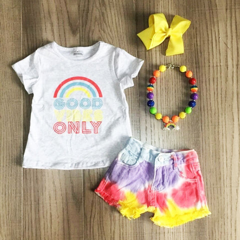 Rainbow Good Vibes Only Tie Dye Denim Shorts Top Necklace And Bow Set