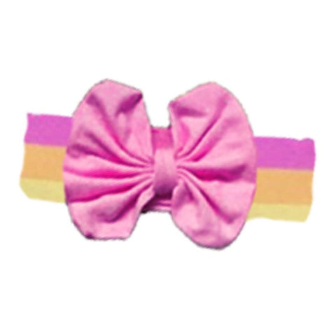 Rainbow Headband Pink Messy Bow