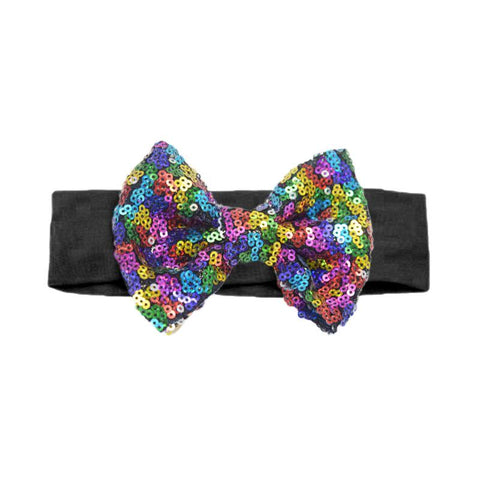 Rainbow Headband Sequin Bow Black
