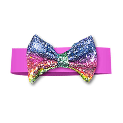 Rainbow Headband Sequin Bow Pink