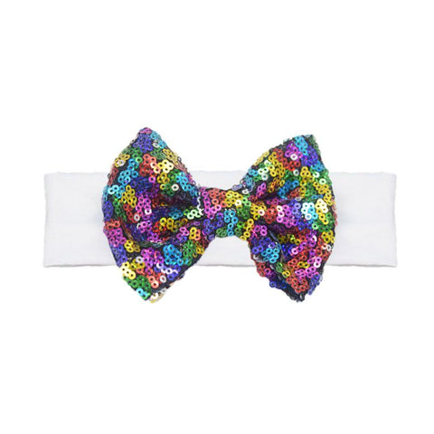 Rainbow Headband Sequin Bow White