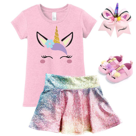 Rainbow Pink Unicorn Outfit Gold Top And Skirt