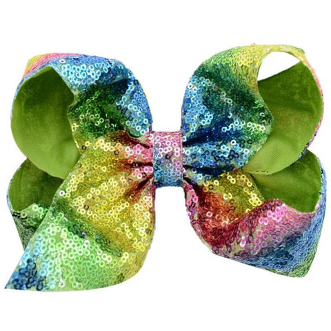 Rainbow Sequin Hair Bow 8 Inch