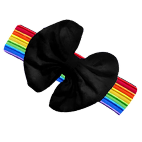 Rainbow Stripe Black Messy Bow Headband