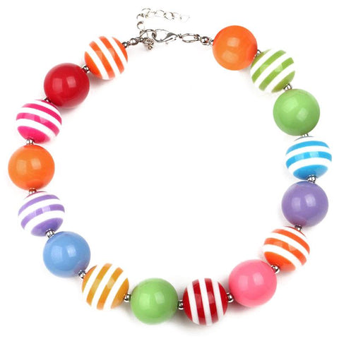 Rainbow Stripe Necklace Primary Chunky Gumball