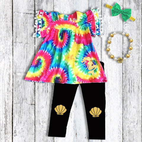Rainbow Tie Dye Mermaid Pom Top Pants Necklace And Headband Set