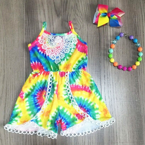 Rainbow Tie Dye Romper bow and necklace set