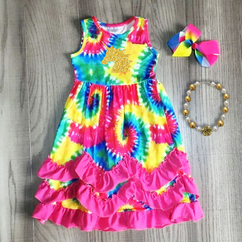 Rainbow Tie Dye Unicorn Chevron Pink Dress Necklace And Hair Bow Set