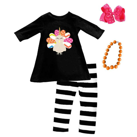 Rainbow Turkey Unicorn Outfit Stripe Top And Pants