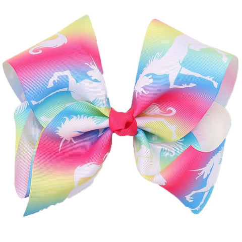Rainbow Unicorn Hair Bow 8 Inch