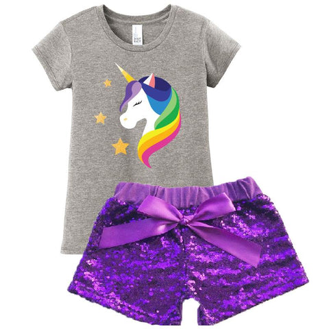 Rainbow Unicorn Outfit Purple Sequin Top And Shorts