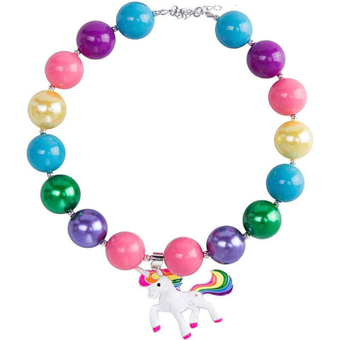 Rainbow Unicorn Pendent Necklace Chunky Gumball